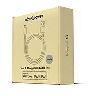 AlzaPower AluCore Lightning MFi 1m Silver - Adatkábel