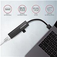 AXAGON HMA-GL3A, USB-A > GLAN & 3-port Hub, Metal Black - Hálózati kártya