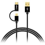 AlzaPower MultiCore microUSB + USB-C 1m Black - Adatkábel