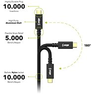 AlzaPower AluCore USB-C / USB-C 3.2 Gen 2, 5A, 100W, 1m fekete - Adatkábel
