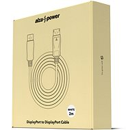 AlzaPower DisplayPort-ról (M) DisplayPort-ra (M) csatlakozókábel, 2 m, fehér - Videokábel
