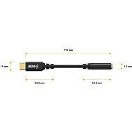 AlzaPower USB-C (M) - 3,5 mm-es jack (F), 0,1 m, fekete - Átalakító