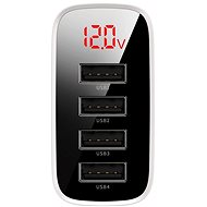 Baseus Mirror Lake Digital Display 4USB Travel Charger 30W, fehér - Úti töltő