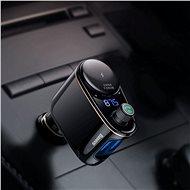 Baseus Locomotive BT MP3 FM Transmitter Cigarette Lighter Car Charger Black - Autós töltő
