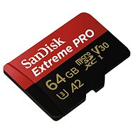 SanDisk MicroSDXC 64GB Extreme Pro A2 UHS-I (V30) U3 + SD adapter - Memóriakártya