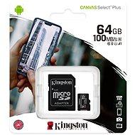 Kingston Canvas Select Plus micro SDXC 64GB Class 10 UHS-I + SD adapter - Memóriakártya
