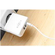 FIXED Travel USB-C és 2 x USB kimenettel és USB-C / USB-C kábellel, PD 45 W fehér - Hálózati adapter