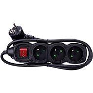 Emos hosszabbító 250V, 3x csatlakozó, 1,5m fekete - Hosszabbító kábel