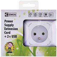 EMOS Elosztó kocka hosszabbító kábellel - 4 aljzat + 2× USB, 1,9 m - Hosszabbító kábel