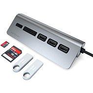 Satechi C típusú alumínium USB hub (3x USB 3.0, MicroSD) - Asztroszürke - Port replikátor
