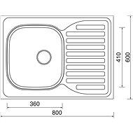 SINKS CLP-D 800 M 0,5mm, balos - matt - Rozsdamentes acél mosogató