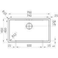 SINKS BOXSTEP 790 RO 1,0mm + VERSUS - Rozsdamentes acél mosogató