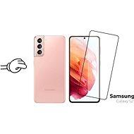 Edzett üveg védőkeret a Samsung Galaxy S21 készülékhez, fekete + fényképezőgép üveg - Képernyővédő