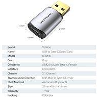 Vention USB to Type-C (USB-C) Sound Card Metal Type - Külső hangkártya