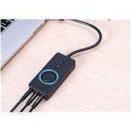 USB 2.0 külső sztereó hangadapter hangerőszabályzóval 1M fekete ABS típus - Külső hangkártya