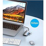 Vention USB-C to HDMI / USB 3.0 x 3 /PD Docking Station 0.15M Gray Aluminum - Port replikátor