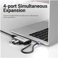 Vention USB 3.0 to 3x USB 3.0 + RJ-45 Gigabit Ethernet Adapter - Port replikátor