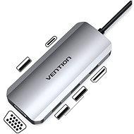 Vention Type-C (USB-C) to HDMI + VGA + 3x USB3.0 + PD Docking Station 0.15m Gray Metal Type - Port replikátor