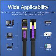 Vention Flat Cat.7 Patch Cable 15m Black - Hálózati kábel
