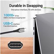 C típusú (USB-C) 2.0 (M) - USB-C (M) kábel 1,5 M szürke alumíniumötvözet típus - Adatkábel