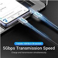 Vention Nylon Braided Type-C (USB-C) Cable (4K / PD / 60W / 5Gbps / 3A) 0,5m Gray - Adatkábel