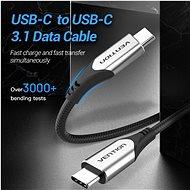 Vention Nylon Braided Type-C (USB-C) Cable (4K / PD / 60W / 5Gbps / 3A) 1,5m Gray - Adatkábel