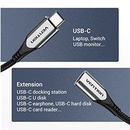 Vention Nylon Braided Type-C (USB-C) Extension Cable (4K / PD / 60W / 5Gbps / 3A) 1m Gray - Adatkábel