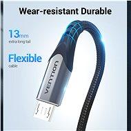 Vention Luxury USB 2.0 -> microUSB Cable 3A Gray 0,25m Aluminum Alloy Type - Adatkábel