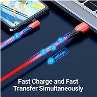 Vention Reversible 90° USB 2.0 -> microUSB Cotton Cable Red 1m Aluminium Alloy Type - Adatkábel