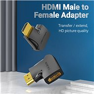 Vention HDMI 270 Degree Male to Female Vertical Flat Adapter 2 Pack, fekete - Átalakító