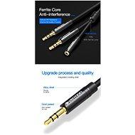Vention 2 x 3.5 mm (M) to 4-Pole 3.5 mm (F) Stereo Splitter Cable 0.3 M Black Metal Type - Átalakító
