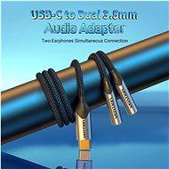 Vention USB-C Male to Dual 3.5MM Jack Earphone Adapter 0.3M Gray Aluminum Alloy Type - Átalakító