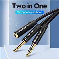 Vention 2x 3,5mm Male to 3,5mm Female Audio Cable 0,3m Black ABS Type - Átalakító