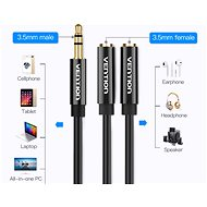 Vention 3,5mm Male to 2x 3,5mm Female Stereo Splitter Cable 0,3m Black ABS Type - Átalakító