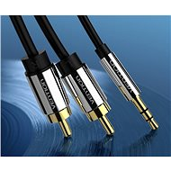 Vention 3,5mm Jack Male to 2x RCA Male Audio Cable 5m Black Metal Type - Audio kábel