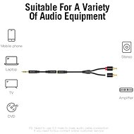 Vention 3.5mm Female to 2x RCA Male Audio Cable 2m Black Metal Type - Audio kábel