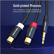 Vention 3.5mm Male to 2x RCA Female Audio Cable 0.3m Black Metal Type - Audio kábel