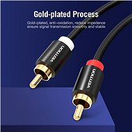 Vention 2x RCA Male to Male Audio Cable 2m Black Metal Type - Audio kábel