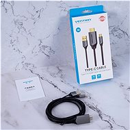 Vention Type-C (USB-C) to HDMI Cable with USB Power Supply 1 m Black Metal Type - Videokábel