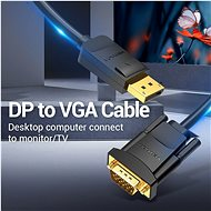 Vention DisplayPort (DP) to VGA Cable 2m Black - Videokábel