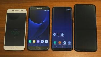 Srovnání nových lodí se starší generací. Zleva: Galaxy S7, S7 Edge, S8, S8+