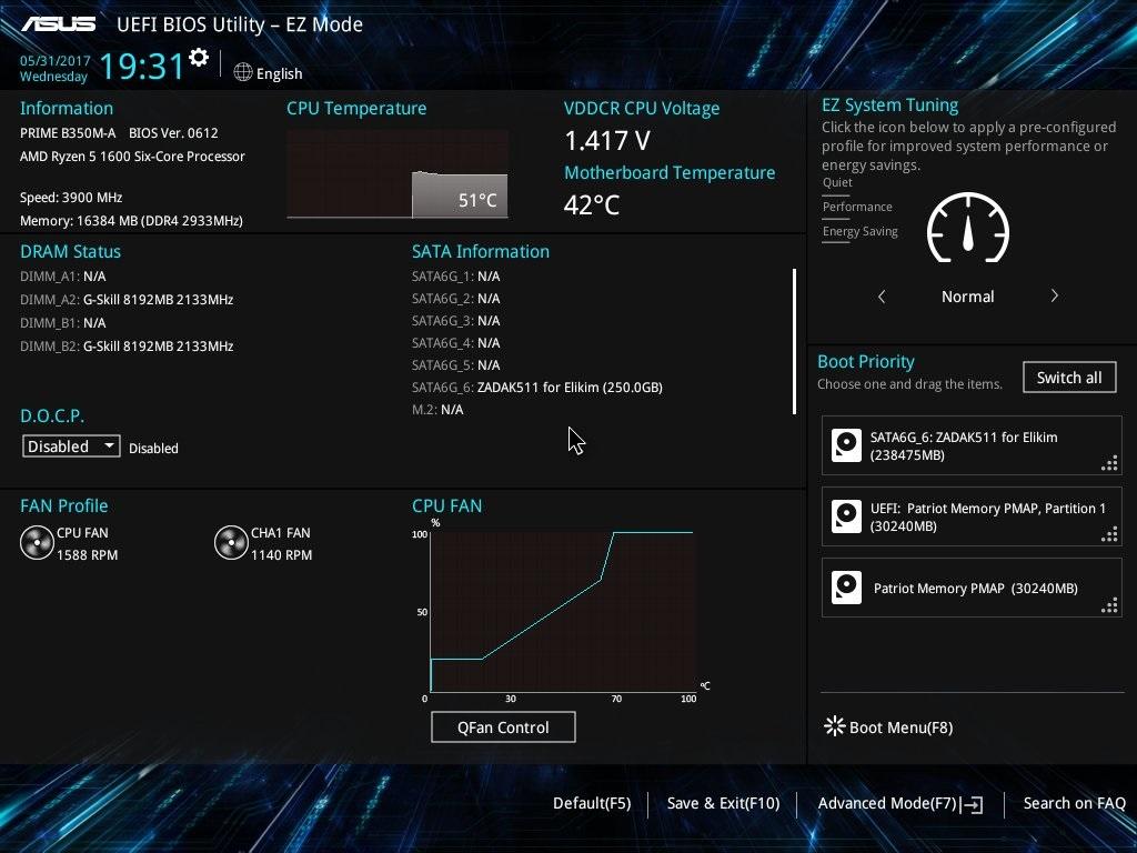 EZ mód UEFI ASUS B350M-A PRIME