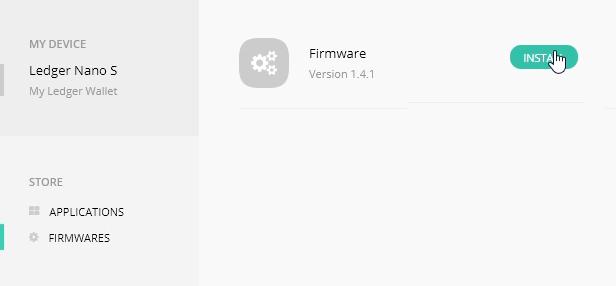 Ledger Nano S; Firmware 1.4