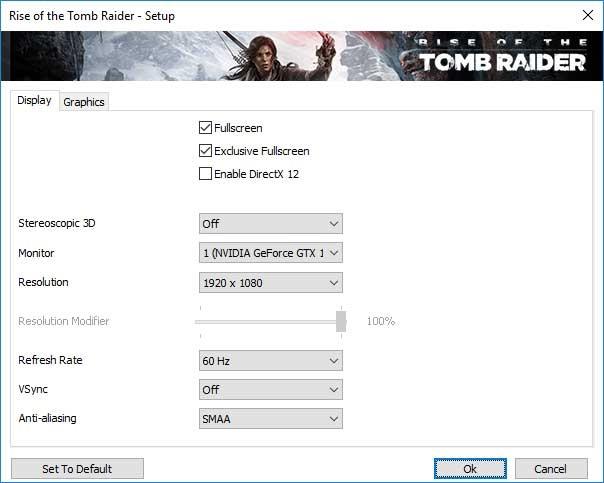 Rise of the Tomb Raider; video beállítások