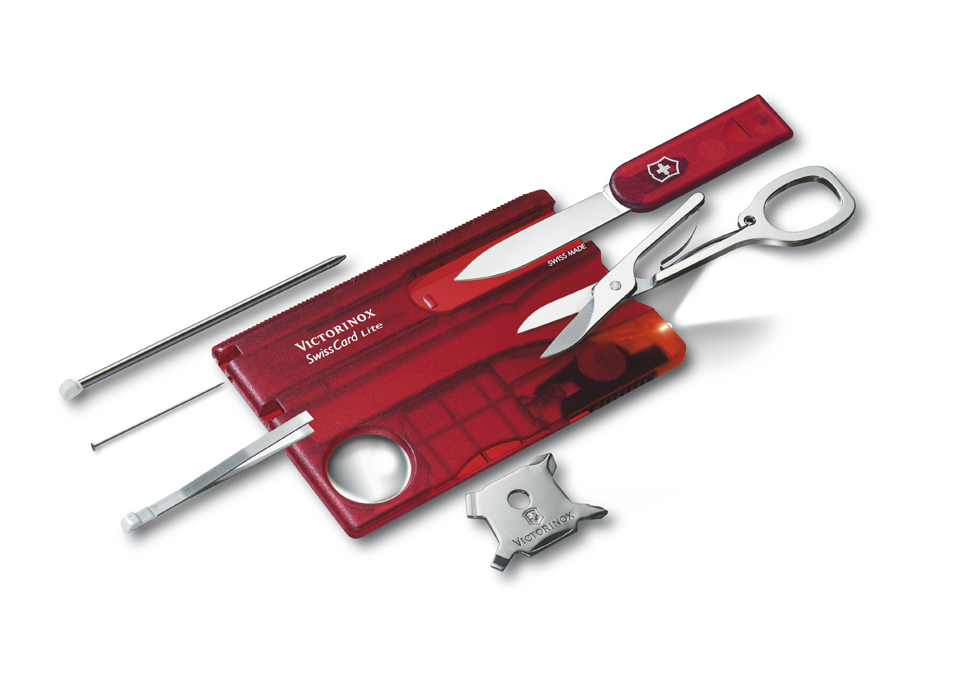 Kapesní nůž VICTORINOX Swiss Card Lite Translucent červený