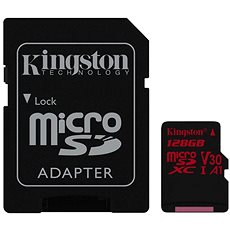 Kingston Canvas React MicroSDXC 128GB A1 UHS-I V30 + SD adapter - Memóriakártya