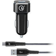 Cellularline Tetra Force USB-C 18W, fekete - Autós töltő