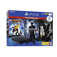 PlayStation 4 Slim  1TB  + 3 játék (The Last Of Us, Uncharted 4, Ratchet and Clank) - Játékkonzol