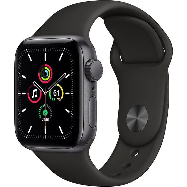 Apple Watch SE 44 mm Space fekete alumínium, fekete sport szíjjal - Okosóra