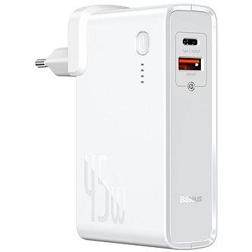 Baseus GaN Power Station 2 az 1-ben PowerBank & Charger 10000 mAh 45 W White - Powerbank
